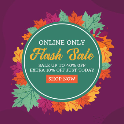 Ad Banner Template for a Fall Sale Ad Featuring Colorful Leaves Illustrations 3991a
