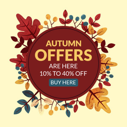 Ad Banner Generator to Featuring Illustrated Autumn Leaves 3991b