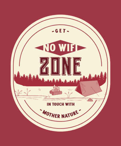 T-Shirt Design Template With a Camping Theme Featuring a Reconnecting With Nature Message 3965a