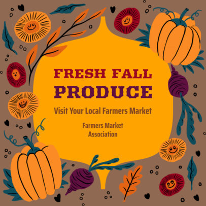 Instagram Post Design Generator With a Fall Theme and a Farmer's Market Offer 3993b