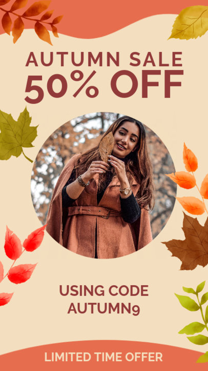 Instagram Story Generator Featuring a Special Sale Announcement and Autumn Graphics 3992b