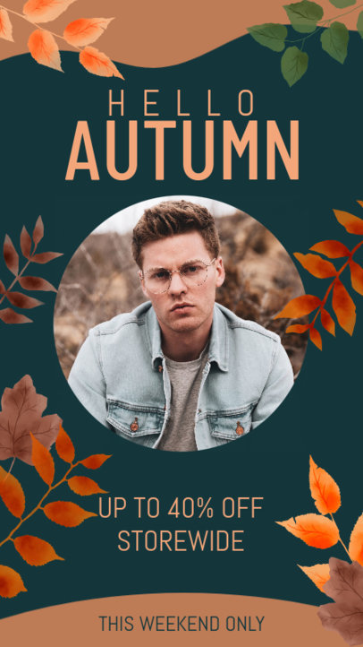 Autumn-Themed Instagram Story Design Maker to Announce a Clothing Sale 3992d