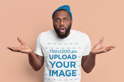 T-Shirt Mockup of a Confused Man With a Beard in a Studio m3585-r-el2