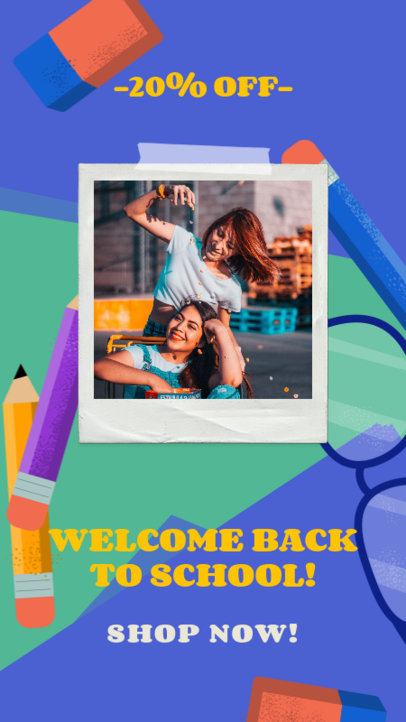 Instagram Story Design Template Featuring a Back-to-School Special Offer 3727e-4031