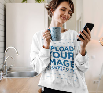 Sweatshirt Mockup of a Young Woman Checking Her Phone M11135-r-el2