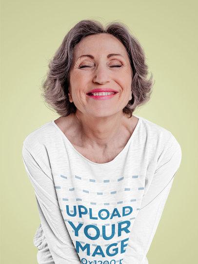 3/4 Sleeve Tee Mockup Featuring a Happy Senior Woman m12727-r-el2