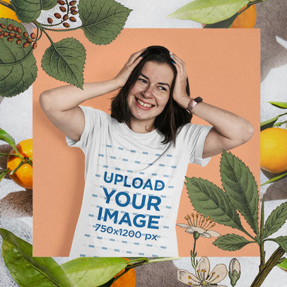 Basic T-Shirt Mockup Featuring a Happy Young Woman and a Botanical Frame m15445-r-el2