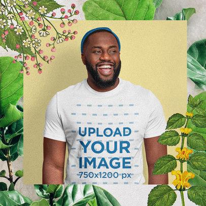 T-Shirt Mockup Featuring a Man and a Floral Design M15649-r-el2