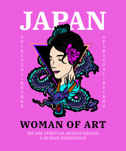 T-Shirt Design Creator with a Graphic of a Japanese Woman and a Dragon 4023b