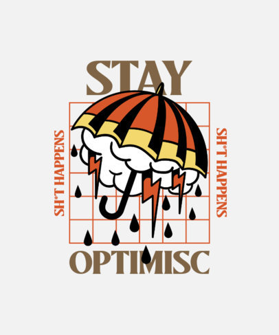 T-Shirt Design Template Featuring an Old-School Tattoo Aesthetic and an Umbrella Clipart 4020a