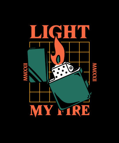 Classic Tattoo-Styled T-Shirt Design Creator Featuring a Lighter Illustration 4020g