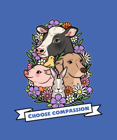 Illustrated T-Shirt Design Creator for an Animal Rights Campaign 4016e