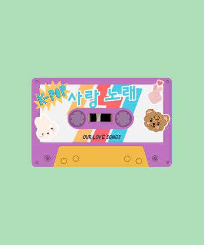 T-Shirt Design Template Featuring a Cassette with Cute Kawaii Animal Graphics 4021d