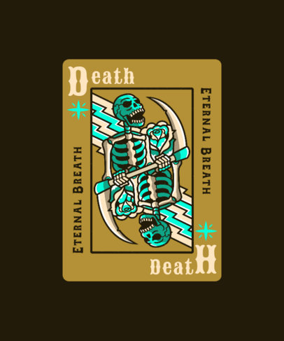 T-Shirt Design Template Featuring a Poker Card With a Skeleton Graphic 4618a