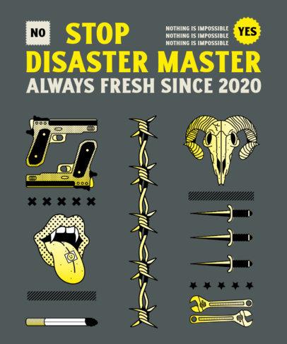 T-Shirt Design Template Featuring Graphics of Guns and Skulls 4617C