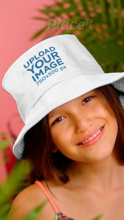 Bucket Hat Video Featuring a Happy Girl at a Studio 3952v