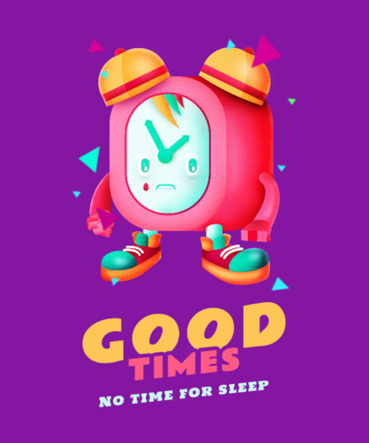 Colorful T-Shirt Design Template with an Isometric Alarm Clock Character 4013b
