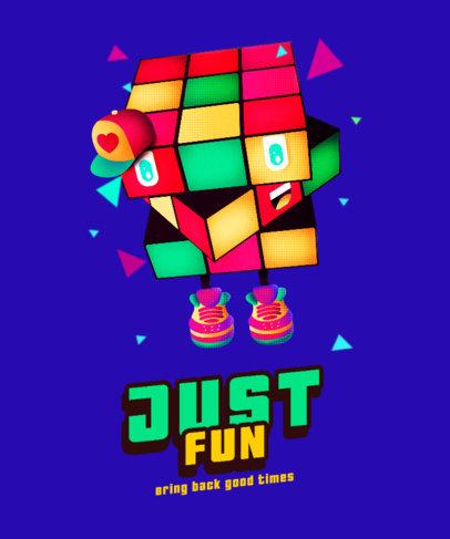 Retro T-Shirt Design Creator with an Isometric Rubik's Cube Character 4013e