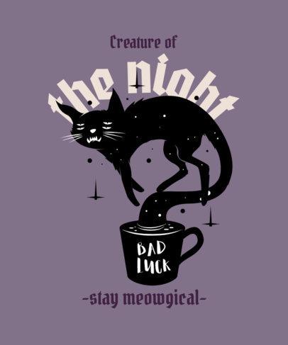 T-Shirt Design Maker Featuring a Tired Magical Cat 4045