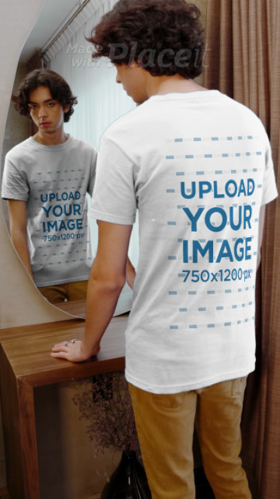 T-Shirt Video Featuring a Happy Young Man Posing in Front of a Mirror 3996v