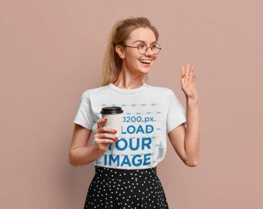 T-Shirt Mockup of a Happy Woman Greeting Someone m3655-r-el2