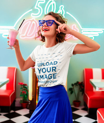 T-Shirt Mockup of a Woman in a Retro Outfit Holding a Milkshake m15509-r-el2