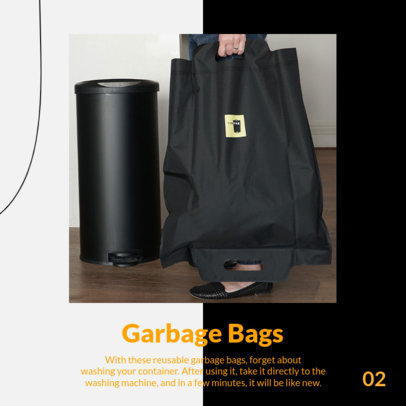 Instagram Post Design Template With Eco-Friendly Garbage Bags and a Carousel Layout 4326e-el1