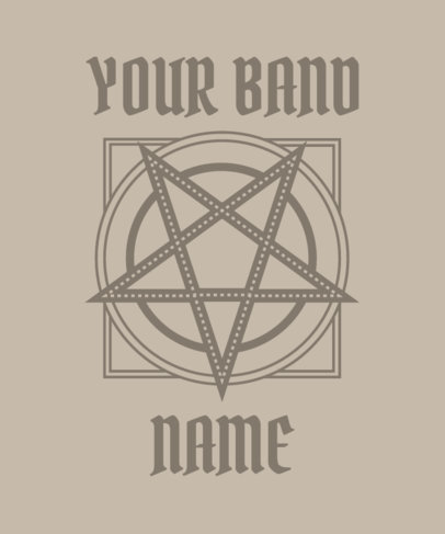 T-Shirt Design Template for Metal Bands With a Pentagram Graphic 4040d