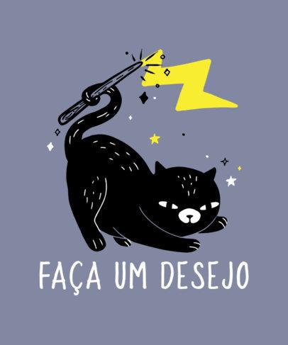 Fun T-Shirt Design Creator Featuring a Magical Cat 4046f