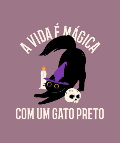 T-Shirt Design Generator with a Dark Magic Cat Illustration 4044c