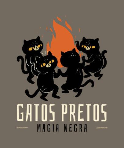 Dark Magic-Themed T-Shirt Design Maker Featuring Black Cats 4046g