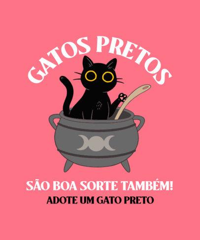 Halloween -Themed T-Shirt Design Creator with a Cat on a Cauldron 4044h