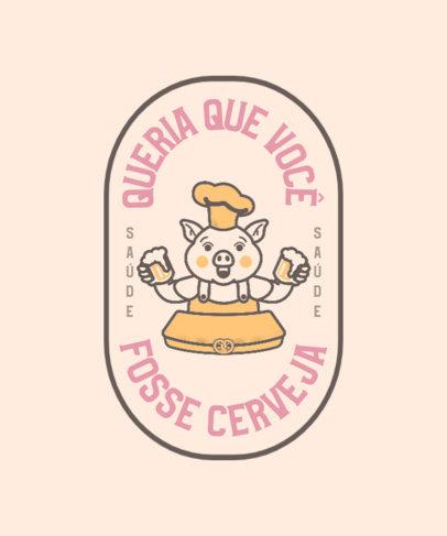 T-Shirt Design Maker for a Beer Fair Featuring a Pork Cartoon 4047a