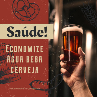 Beer-Themed Instagram Post Generator Featuring Portuguese Text 4049c