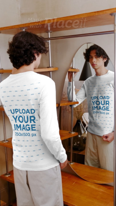 Long Sleeve Tee Video of a Man Posing in Front of a Mirror 3993v