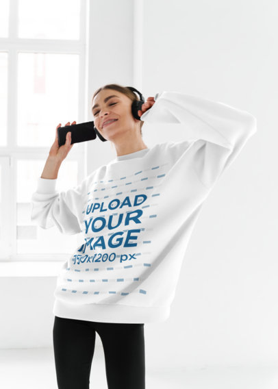 Sweatshirt Mockup Featuring a Joyful in Headphones Woman Dancing M10969-r-el2