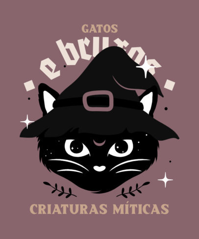 Illustrated T-Shirt Design Maker Featuring a Cat Wearing a Witch Hat 4045a