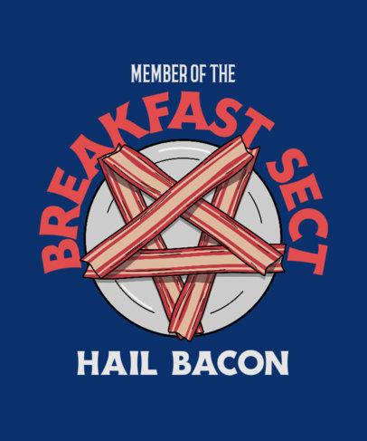 T-Shirt Design Maker Featuring a Pentagram Made of Bacon 4039b