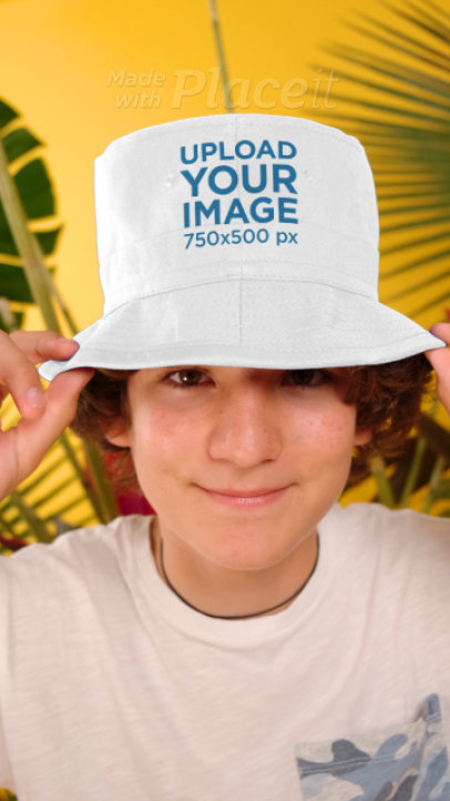 Video Featuring a Happy Boy Wearing a Customizable Bucket Hat 3955v