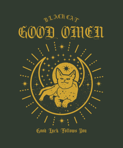 T-Shirt Design Template with a Cat Graphic for Good Luck 4042i