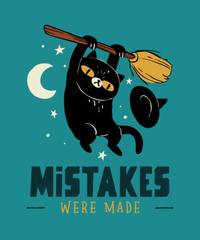 Fun T-Shirt Design Maker Featuring a Witch Cat 4046a