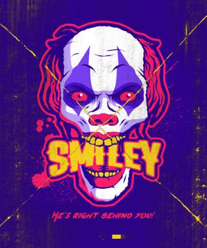 T-Shirt Design Maker for Halloween with an Evil Clown Illustration 4634e