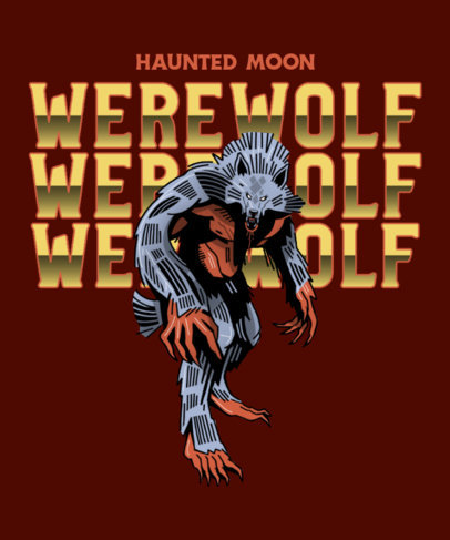 Cool T-Shirt Design Maker Featuring a Terrifying Werewolf 4635a
