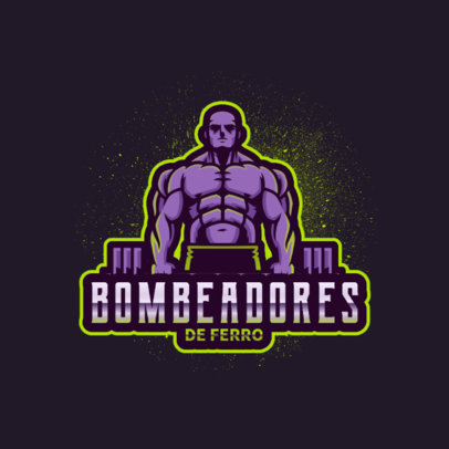 Logo Creator for a Gym Featuring an Illustrated Bodybuilder 4628c