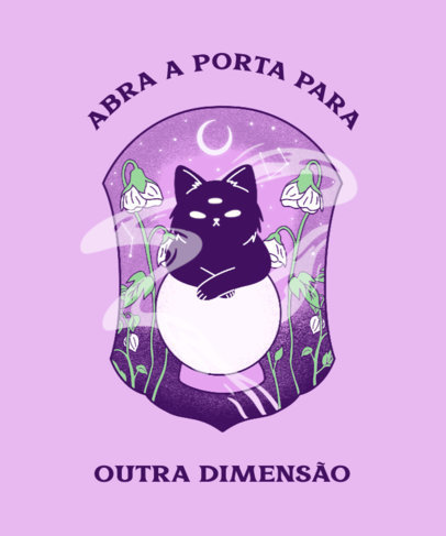T-Shirt Design Creator With an Illustrated Cat on a Crystal Ball 4043d