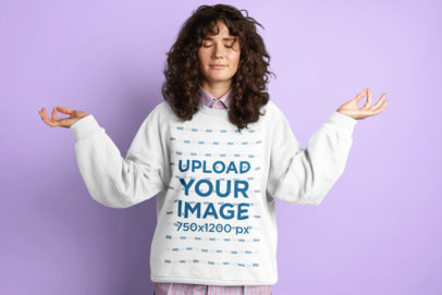Sweatshirt Mockup of a Woman with Curly Hair in a Meditating Pose M11493-r-el2
