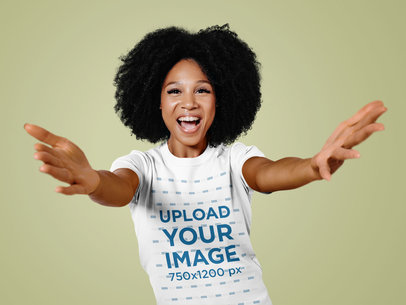T-Shirt Mockup of a Happy Woman with Welcoming Arms m12691-r-el2