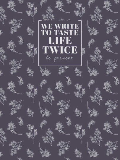 Notebook Cover Creator With Plant Graphics and Quotes 4390c-el1