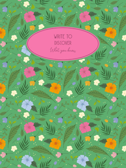 Notebook Cover Design Maker Featuring Quotes and Botanical Graphics 4398a-el1