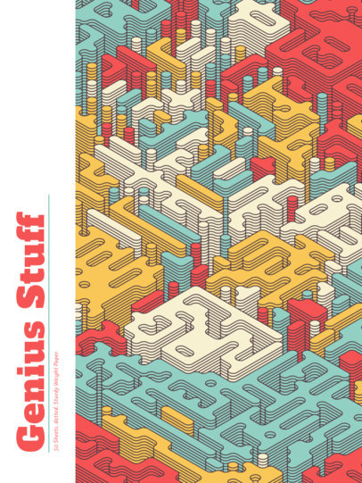 Notebook Cover Template with a Fun Isometric Pattern 4394e-el1